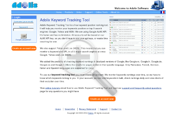 Adolix Keyword Tracking Tool Premium Service Plan Premium500 Monthly subscription preview. Click for more details