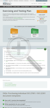 Exercising and Testing Plan ISO 22301 template in English preview. Click for more details