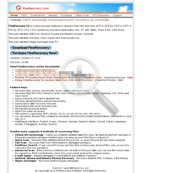 FineRecovery Enterprise Full Version preview. Click for more details