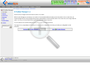 IE Toolbar Manager preview. Click for more details