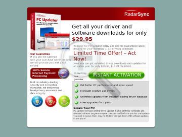 RadarSync PC Updater 2010 12 months subscription preview. Click for more details