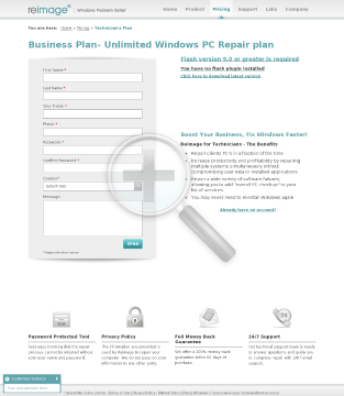 Reimage Windows Repair Business plan Business Plan Starter limited to repairs month preview. Click for more details