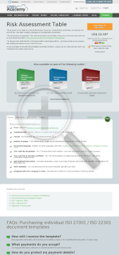 Risk Assessment Table ISO 27001 template in English preview. Click for more details