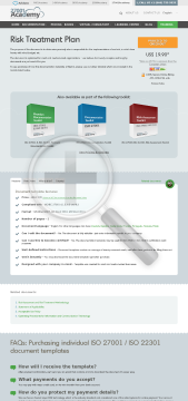 Risk Treatment Plan ISO 27001 template in English preview. Click for more details