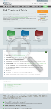 Risk Treatment Table ISO 27001 template in English preview. Click for more details