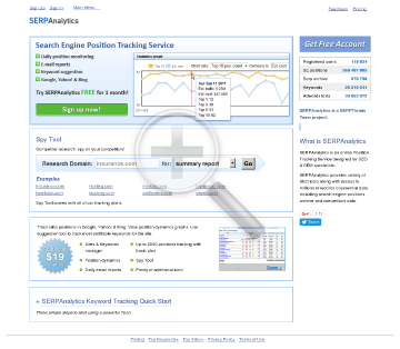 SERPAnalytics Subscriptions SEM Subscription preview. Click for more details
