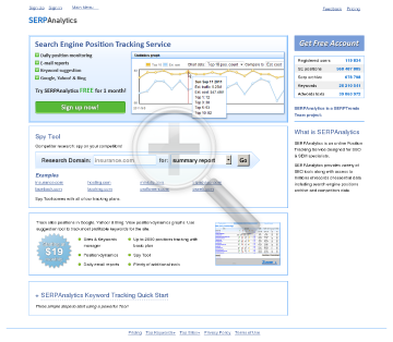 SERPAnalytics Subscriptions SEO Subscription preview. Click for more details