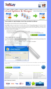 SoftLay vCard Splitter Unlimited License preview. Click for more details