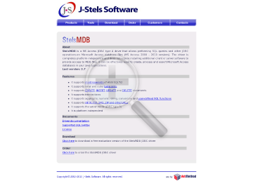 StelsMDB JDBC Driver Site License up to 20 computers free year technical support free year updates preview. Click for more details